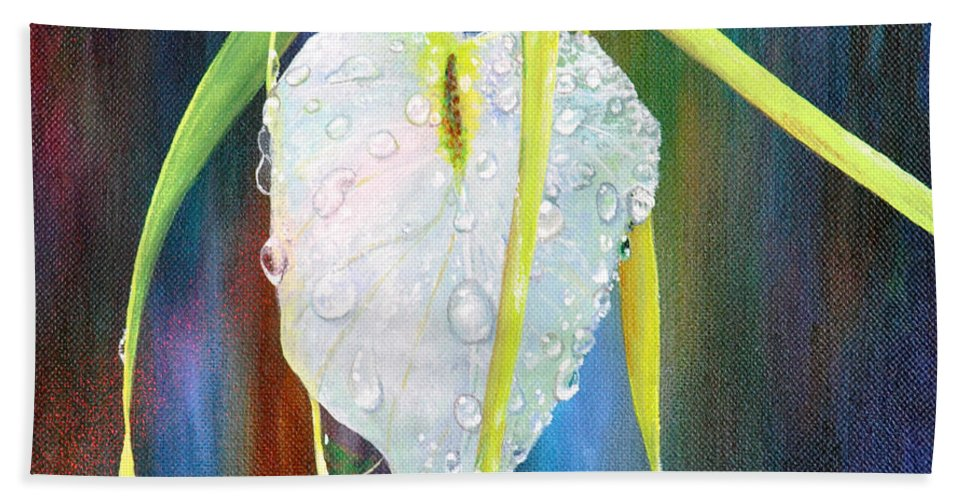 Night Orchid Bath Sheet featuring the painting Pure Love by AnnaJo Vahle
