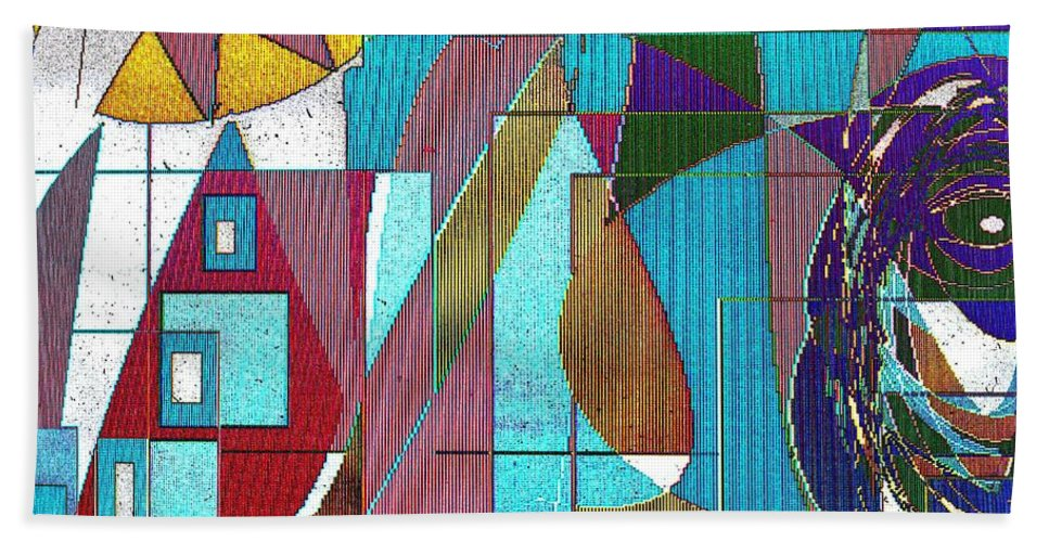 Purple Bath Towel featuring the digital art Purple and Blue by Ian MacDonald