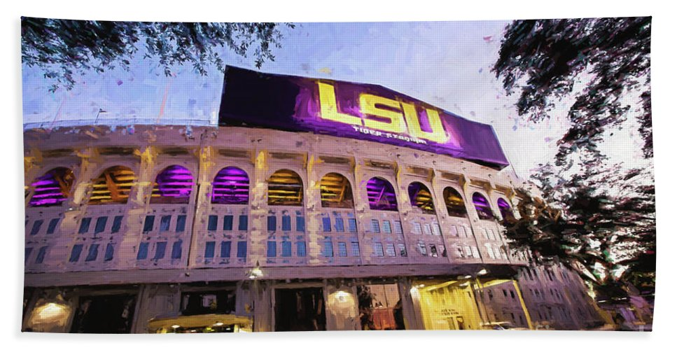 Lsu Hand Towel featuring the photograph Purple And Gold - Digital Painting by Scott Pellegrin