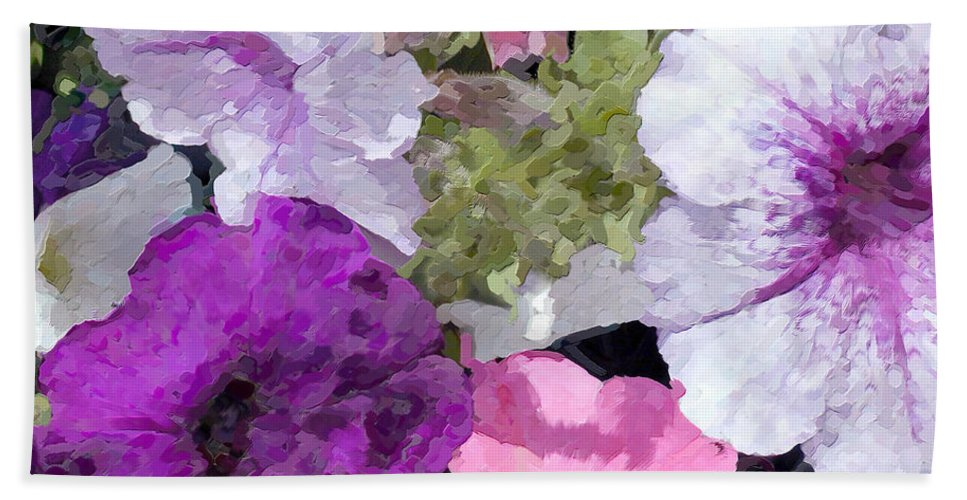 Petunia Hand Towel featuring the painting Purple And Pink Petunias Oil Painting by Elaine Plesser