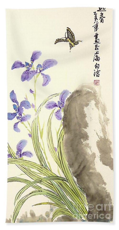 Iris Hand Towel featuring the painting Purple Beauty by Birgit Moldenhauer