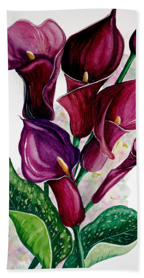 Purple Calla Painting Floral Painting Flower Painting Calla Lily Painting Lilies Painting Greeting Card Painting Botanical Painting Hand Towel featuring the painting Purple Callas by Karin Dawn Kelshall- Best