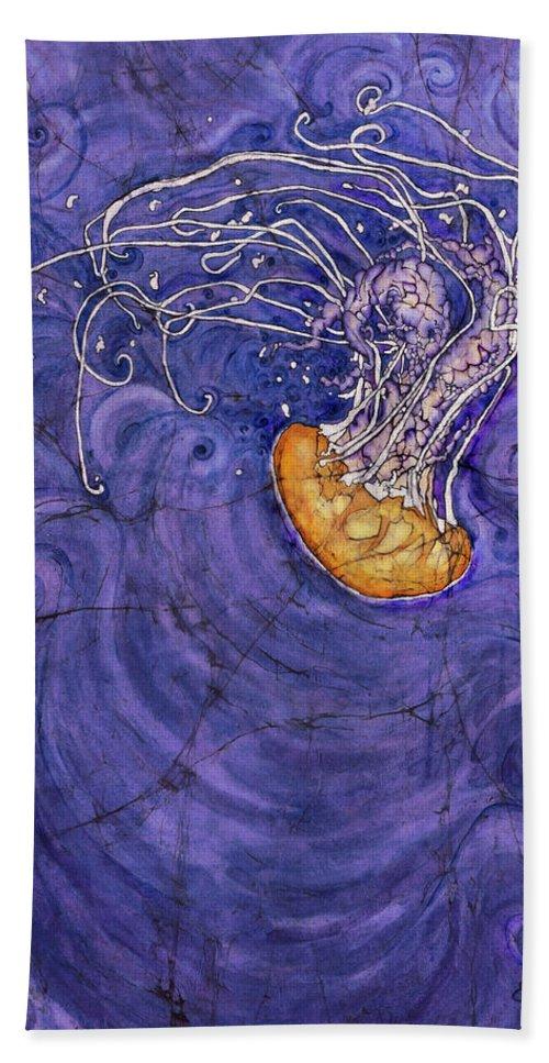 Jellyfish Bath Sheet featuring the painting Purple Calm by Shari Carlson