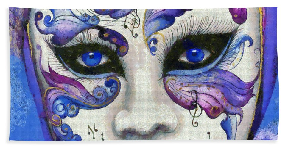 Attire Bath Sheet featuring the painting Purple Carnival by Leonardo Digenio