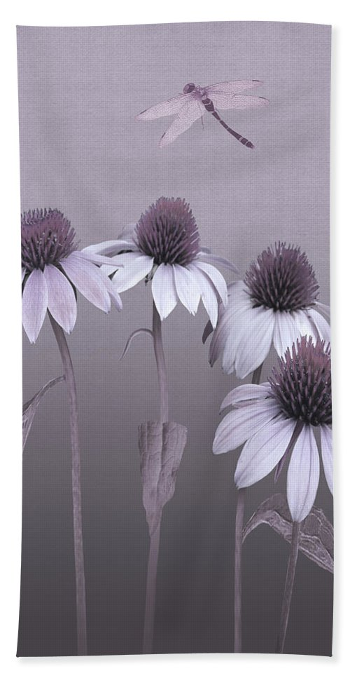 Echinacea Bath Sheet featuring the digital art Purple Coneflowers And Dragonfly by IM Spadecaller