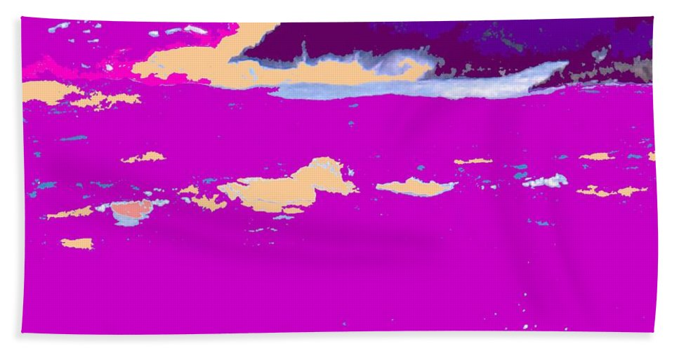Waves Bath Sheet featuring the photograph Purple Crashing Waves by Ian MacDonald