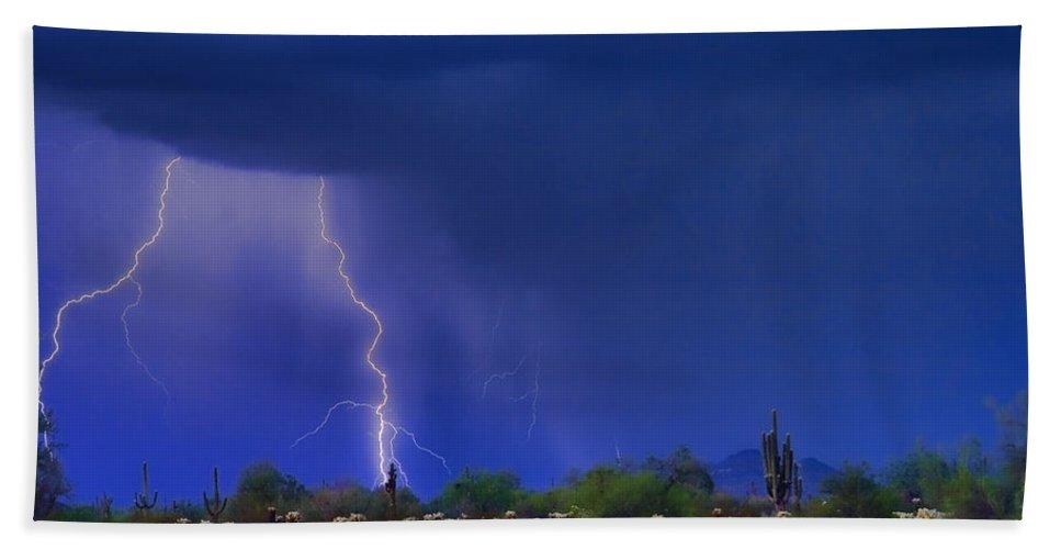 Desert Bath Sheet featuring the photograph Purple Desert Storm by James BO Insogna