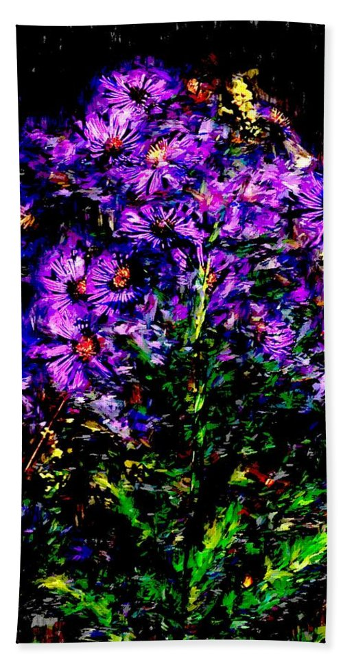 Digital Photograph Bath Sheet featuring the photograph Purple Flower Still Life by David Lane