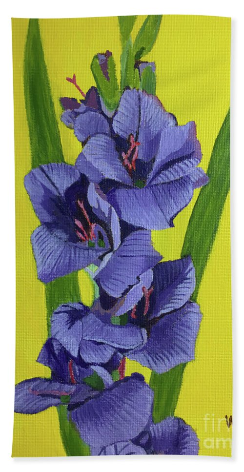 Gladiolas Hand Towel featuring the painting Purple Gladiolas by William Bowers