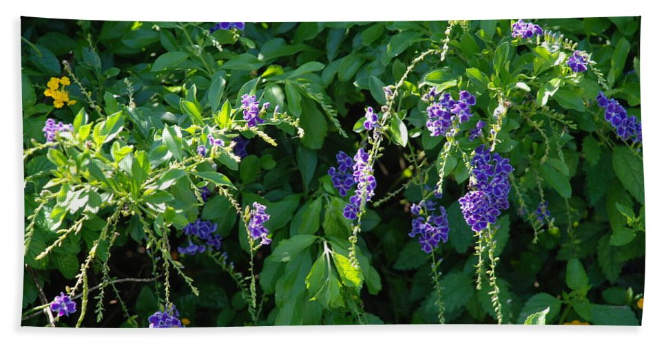 Floral Hand Towel featuring the photograph Purple Hanging Flowers by Rob Hans