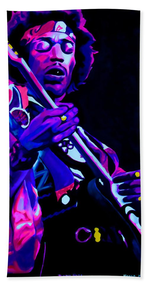 Musician Bath Sheet featuring the painting Purple Haze by Che Hondo