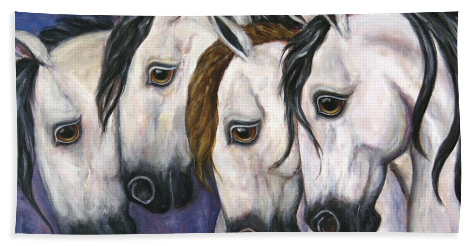 Horse Painting Hand Towel featuring the painting Purple Haze by Frances Gillotti