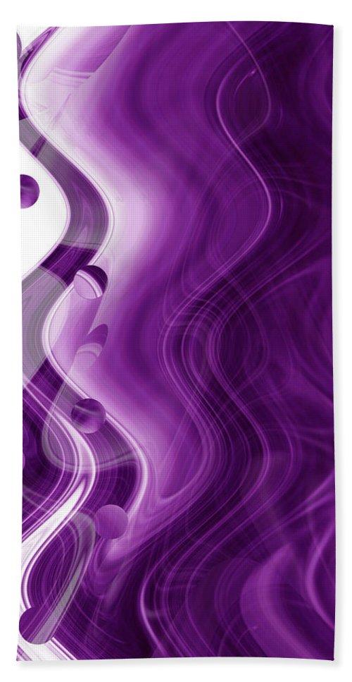 Abstract Art Bath Sheet featuring the digital art Purple Haze by Linda Sannuti