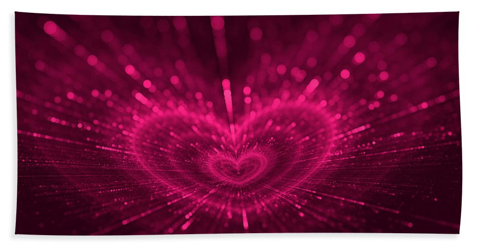 Romantic Hand Towel featuring the digital art Purple Heart Valentine's Day by Anna Bliokh