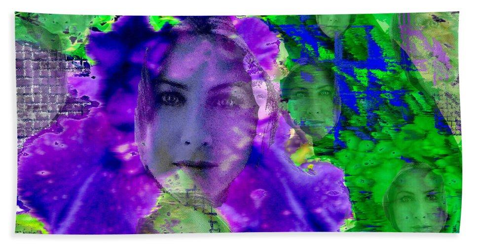 Purple Iris Hand Towel featuring the digital art Purple Iris Faces Among the Flowers by Seth Weaver
