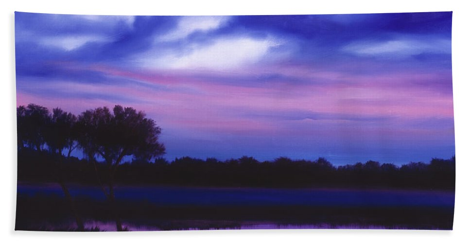 Sunrise Bath Sheet featuring the painting Purple Landscape Or Jean's Clearing by James Christopher Hill