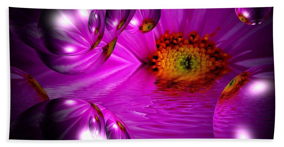 Purple Flower Bath Sheet featuring the mixed media Purple Magic by P Donovan