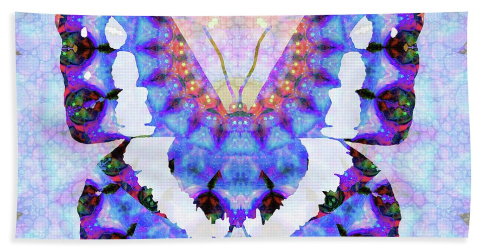 Butterfly Bath Towel featuring the painting Purple Mandala Butterfly Art By Sharon Cummings by Sharon Cummings