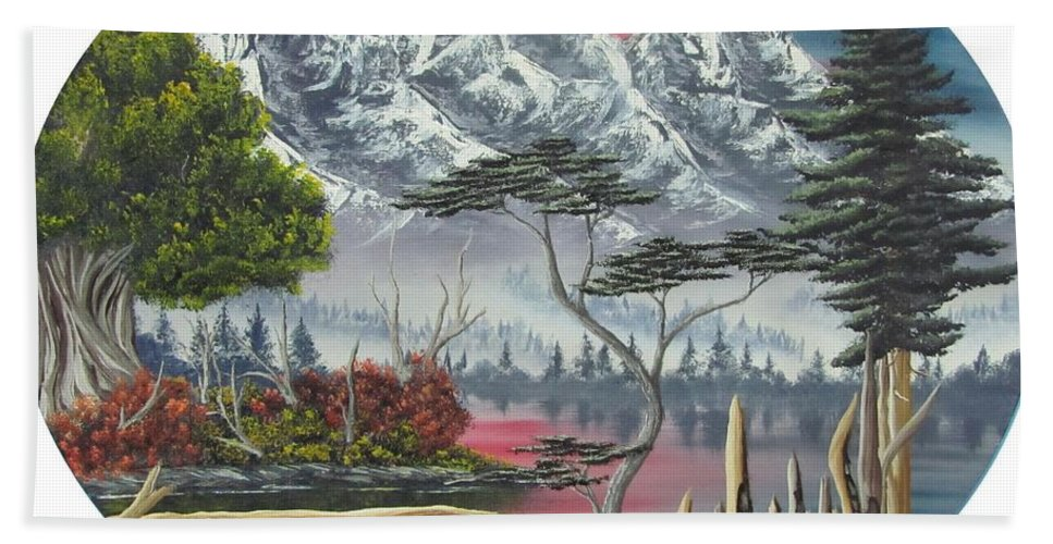 Himalayan Purple Mountains Canvas Prints Lake Landscape Sunset Oil Painting Canvas Prints Himalayan Landscape Paintings Purple Mountain Paintings Original Landscape Oil Paintings Natural Landscape Painting Prints Mountain Flora Paintings Alpine Landscape Art Temperate Forest Paintings Alpine Forest Paintings Boreal Forest Paintings Purple Lake Reflections Paintings Mountain Lake Paintings Surreal Landscapes Paintings Abstract Landscapes Purple Forest Paintings Rare Paintings Rare Art Fine Art Hand Towel featuring the painting Purple Mountain Lake by Joshua Bales