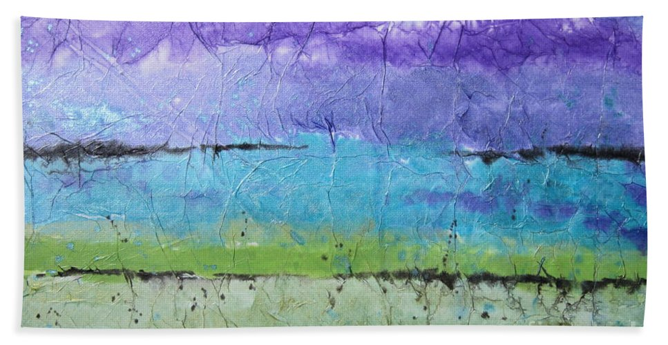 Mountains Hand Towel featuring the painting Purple Mountain's Majesty by Deborah Ronglien