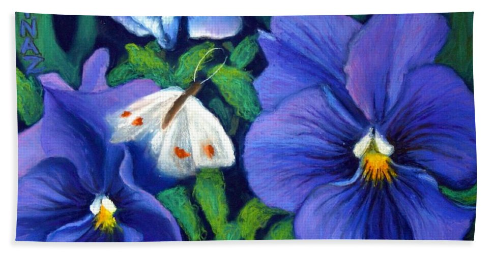 Pansy Bath Sheet featuring the painting Purple Pansies And White Moth by Minaz Jantz