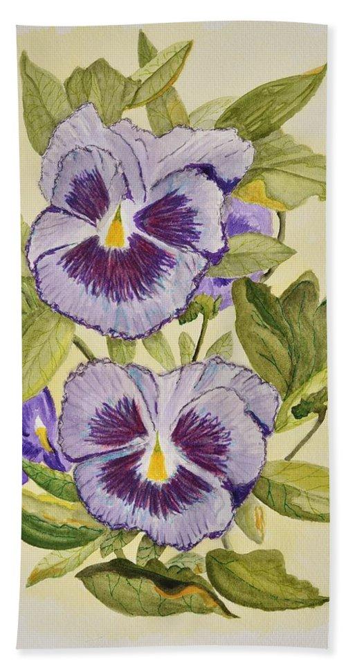 Linda Brody Hand Towel featuring the painting Purple Pansies by Linda Brody
