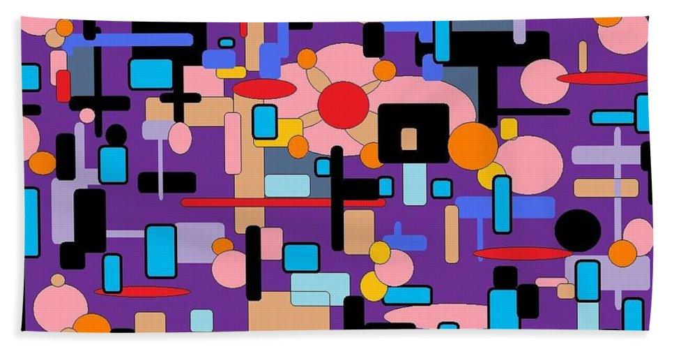 Abstract Digital Bath Sheet featuring the digital art Purple Passion by Jordana Sands