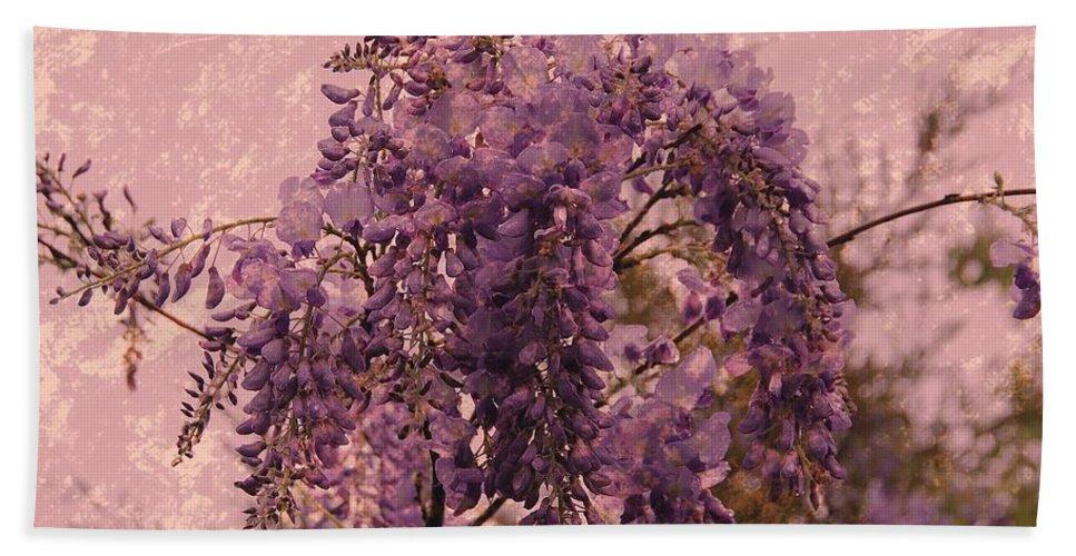 Wisteria Flowers Bath Towel featuring the photograph Purple Pleasures by Angie Tirado