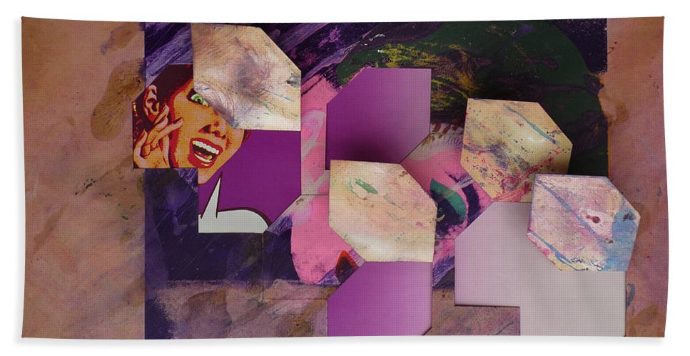 Psycho Bath Sheet featuring the mixed media Purple Rain by Charles Stuart