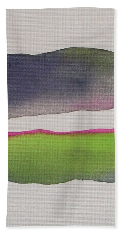 Abstract Bath Sheet featuring the painting Purple Rain by Vesna Antic