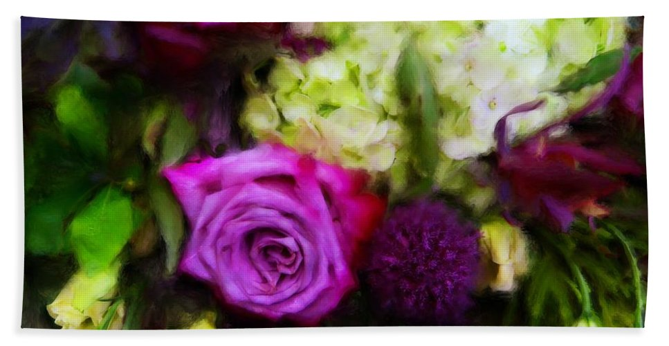 Roses Bath Sheet featuring the digital art Purple Roses With Hydrangea by Sand And Chi