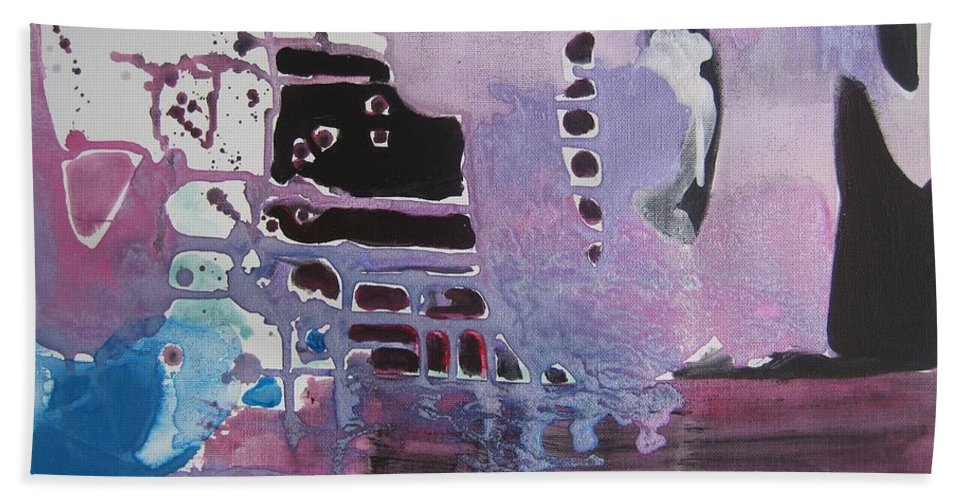 Abstract Paintings Hand Towel featuring the painting Purple Seascape by Seon-Jeong Kim