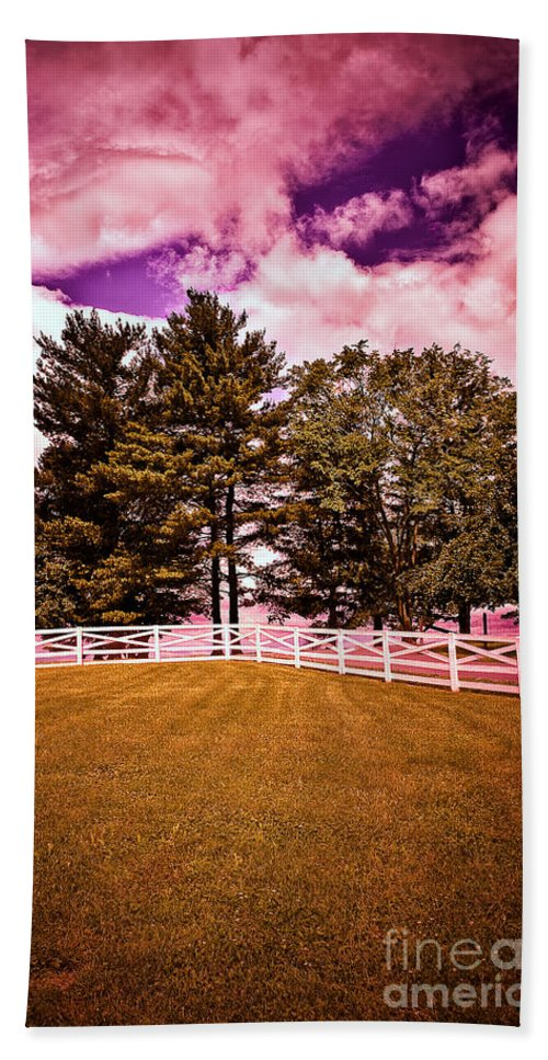Trees Hand Towel featuring the photograph Purple Sky by Madeline Ellis