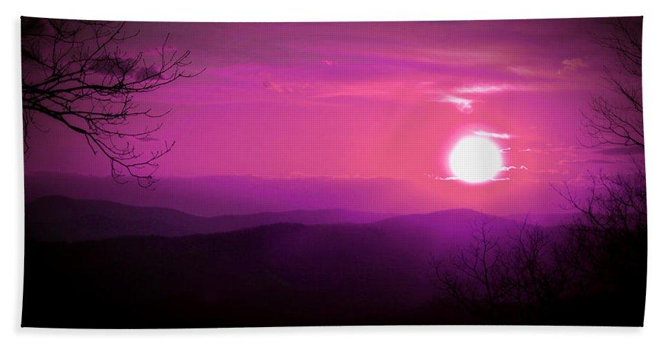 Sun Hand Towel featuring the photograph Purple Sky by Tina Meador