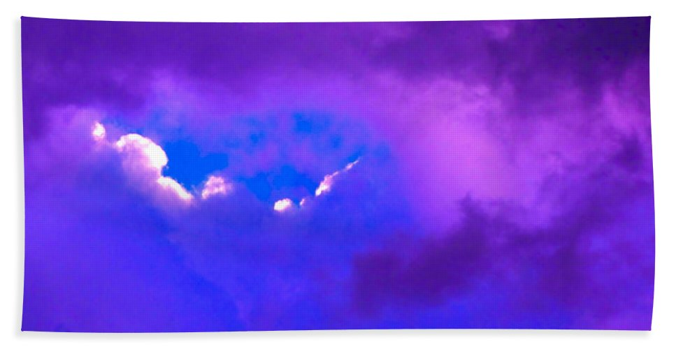 Photograph Of Clouds Hand Towel featuring the photograph Purple Storm by Gwyn Newcombe