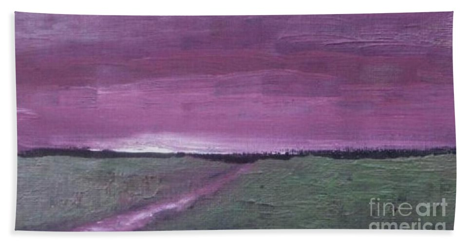 Landscape Bath Sheet featuring the painting Purple Sunset by Vesna Antic