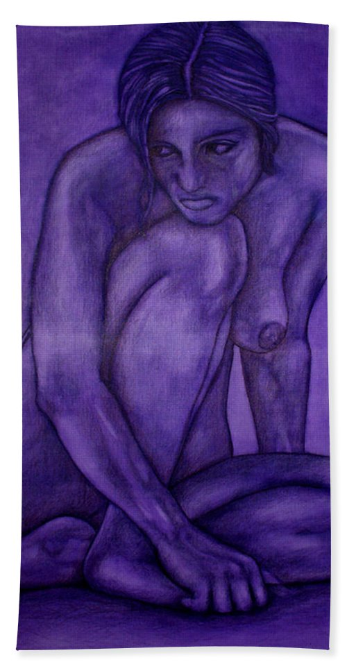 Nude Women Bath Towel featuring the painting Purple by Thomas Valentine