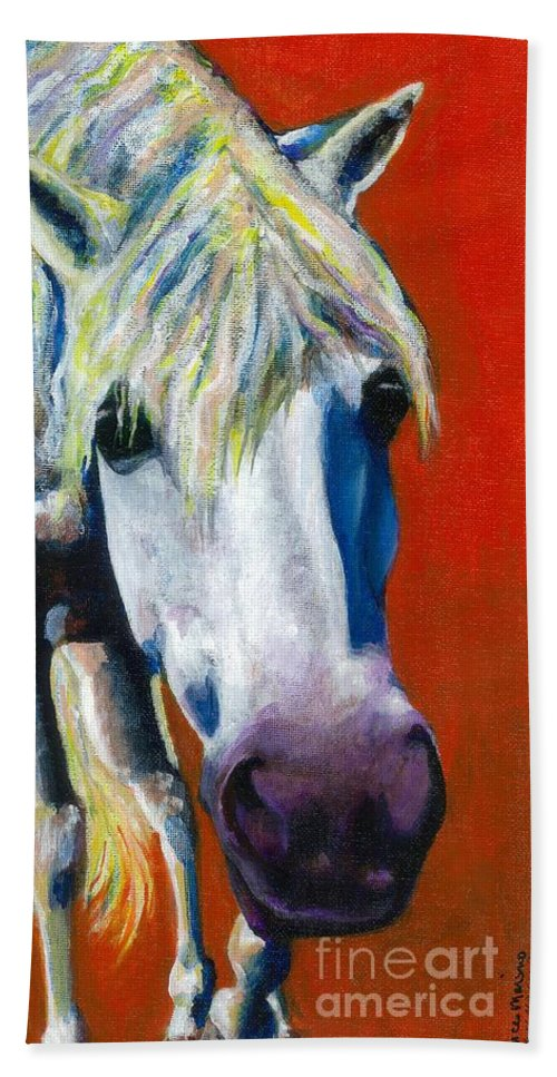 White Horse With Purple Nose Bath Towel featuring the painting Purple Velvet by Frances Marino