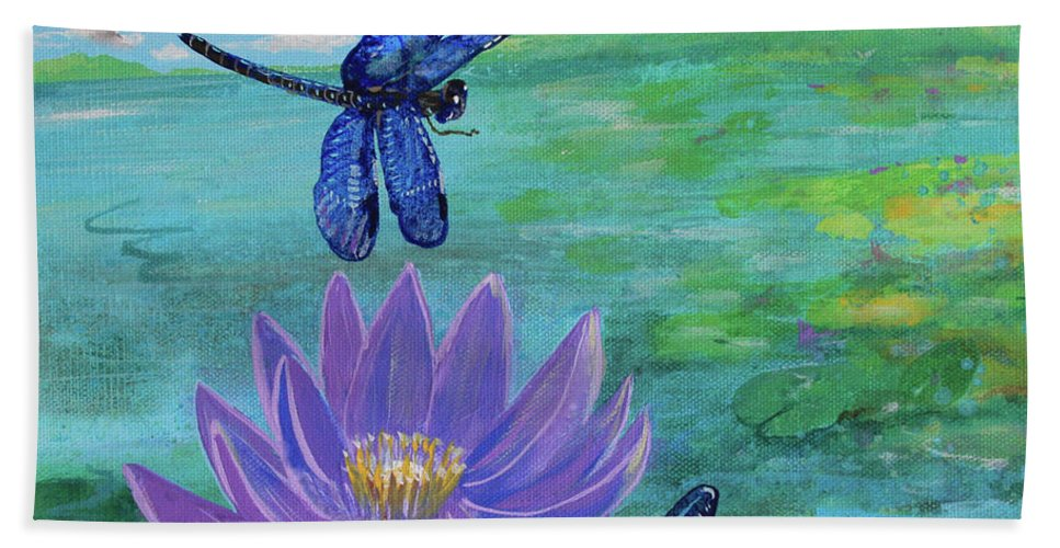 Dragonfly Shower Curtain Waterlilies Nature Print for Bathroom