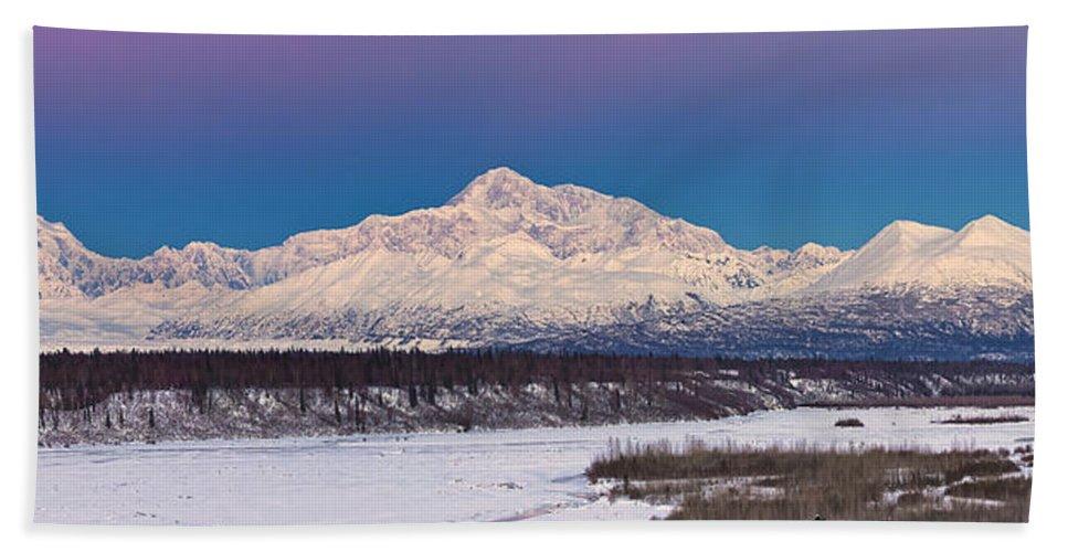 Alaska Landscape Bath Towel featuring the photograph Purples Blue by Ed Boudreau
