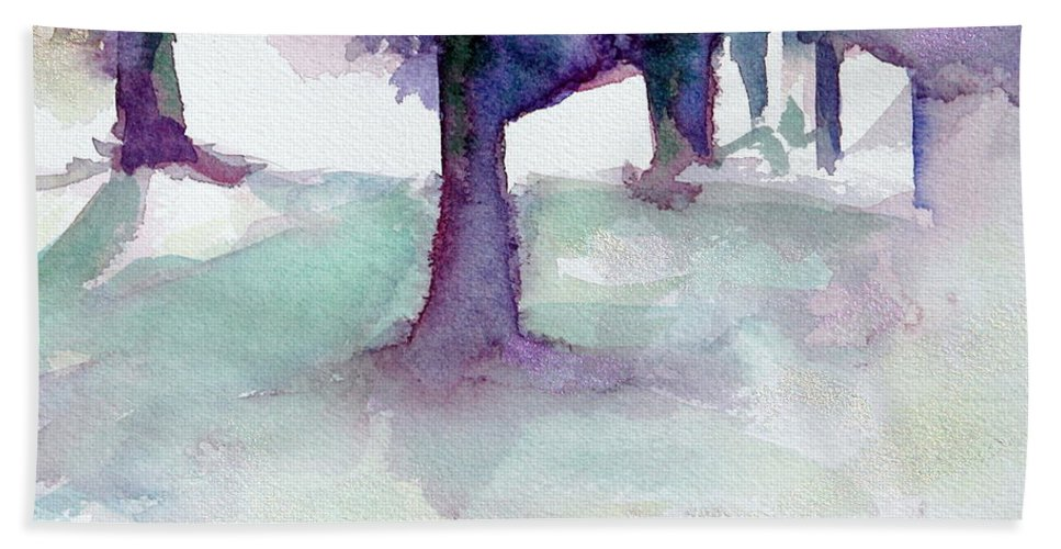 Landscape Hand Towel featuring the painting Purplescape II by Jan Bennicoff