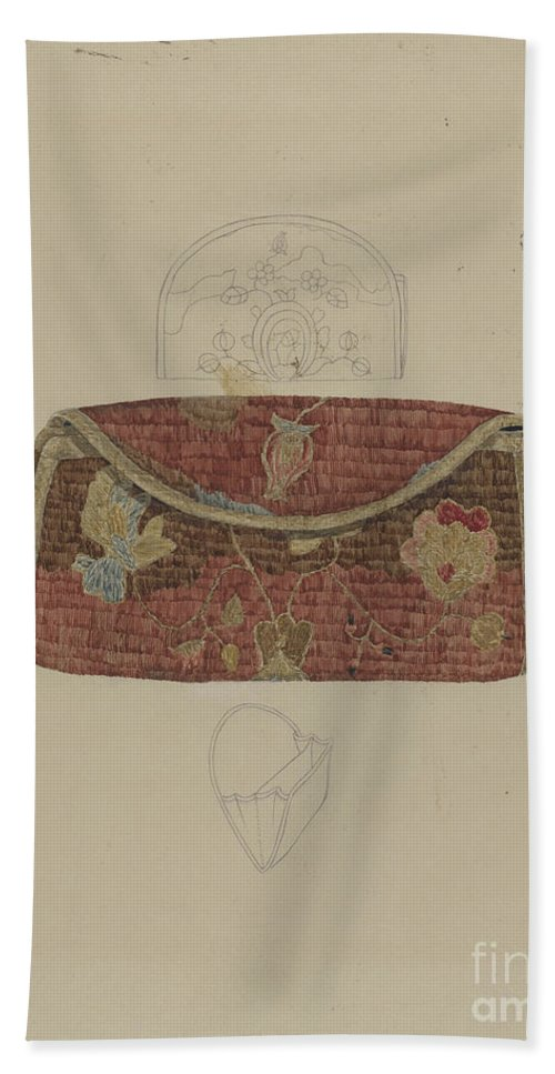 Hand Towel featuring the drawing Purse by Melita Hofmann