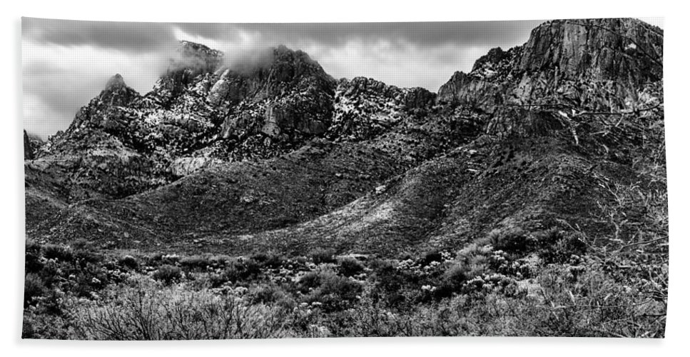 Oro Valley Hand Towel featuring the photograph Pusch Ridge Snow No10 by Mark Myhaver