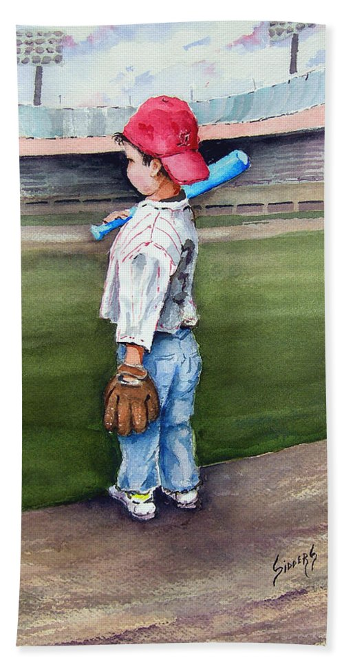 Baseball Bath Towel featuring the painting Put Me In Coach by Sam Sidders
