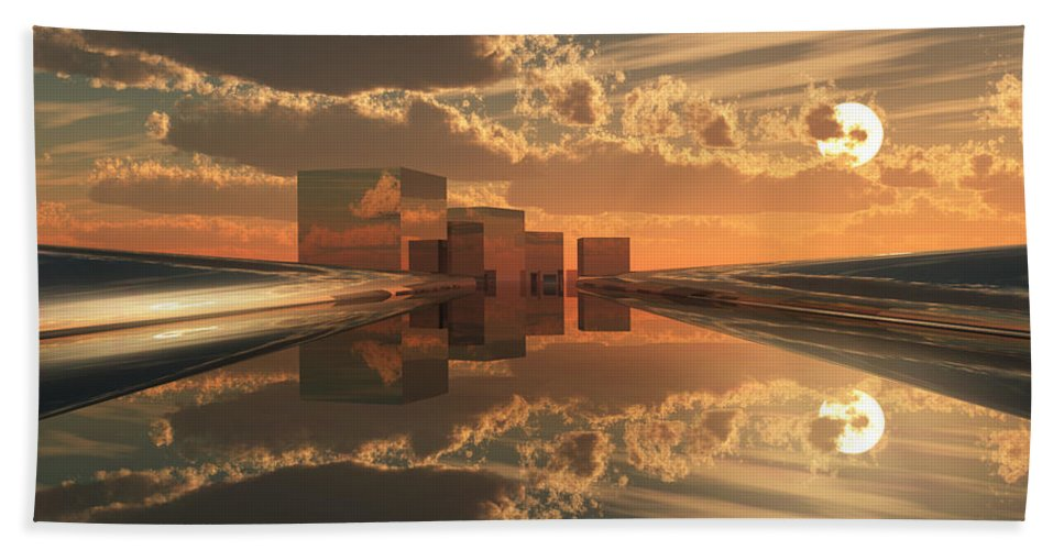 Abstractly Bath Sheet featuring the digital art Q-city Five by Max Steinwald