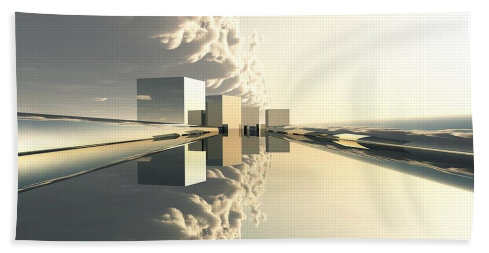 Abstractly Bath Sheet featuring the digital art Q-city Four by Max Steinwald