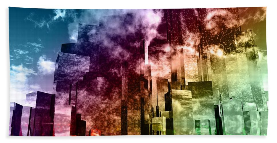 Abstractly Bath Sheet featuring the digital art Q-city Three by Max Steinwald
