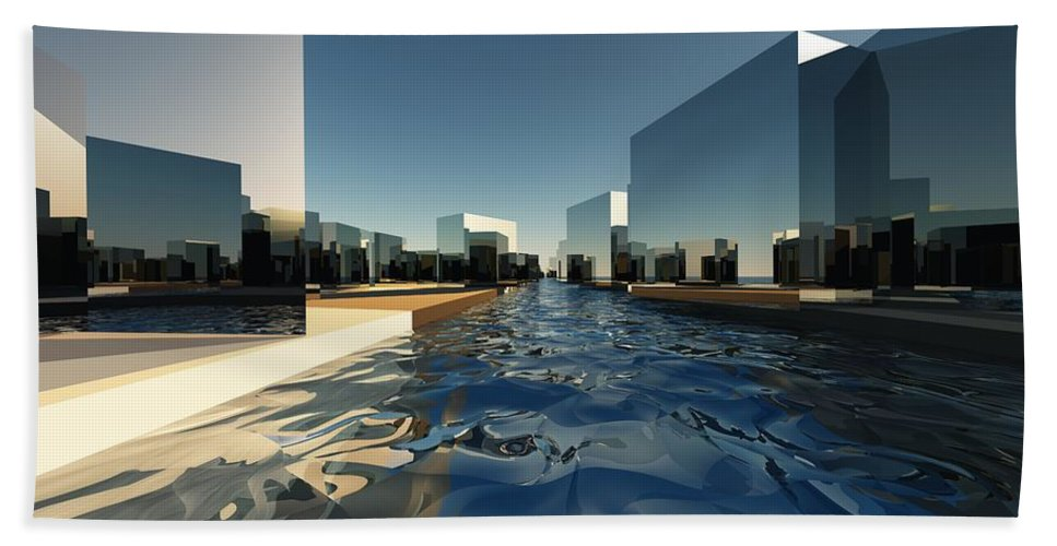 Abstractly Bath Sheet featuring the digital art Q-city Two by Max Steinwald