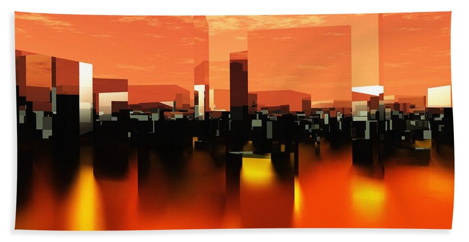 Cube Hand Towel featuring the digital art Q-city Zero by Max Steinwald