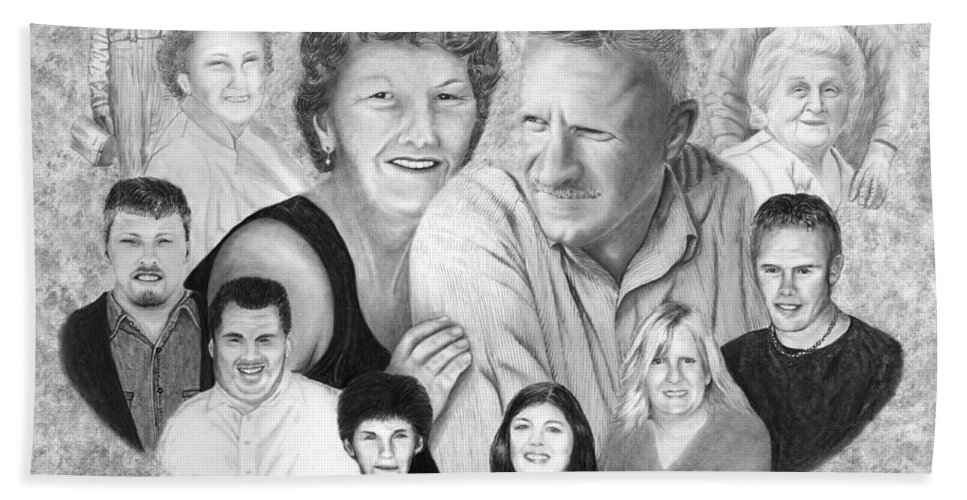 Family Portrait Hand Towel featuring the drawing Quade Family Portrait by Peter Piatt